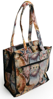 Tapestry Cat Design Shopping Bag with Removable coin purse (one left) <!--CL-->