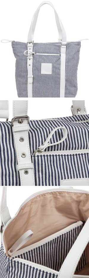 Ladies Adjustable Shoulder Strap White Blue Bag (one left) <!--CL-->