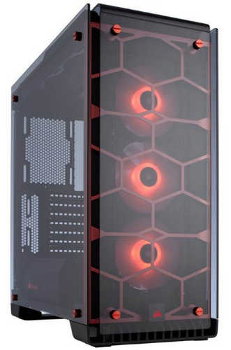 Corsair Crystal Series 570X RGB ATX Mid-Tower Case Red with Four-panel tempered glass Window Panel