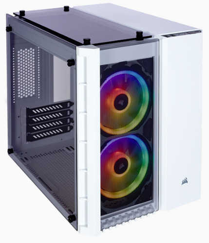 Corsair Crystal Series 280X RGB Tempered Glass White Micro ATX Case with Side Window Panel