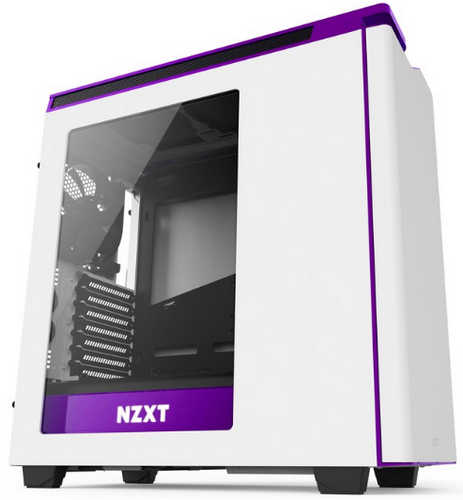 NZXT H440/H442 White/Purple Mid Tower Case with Side Window Panel