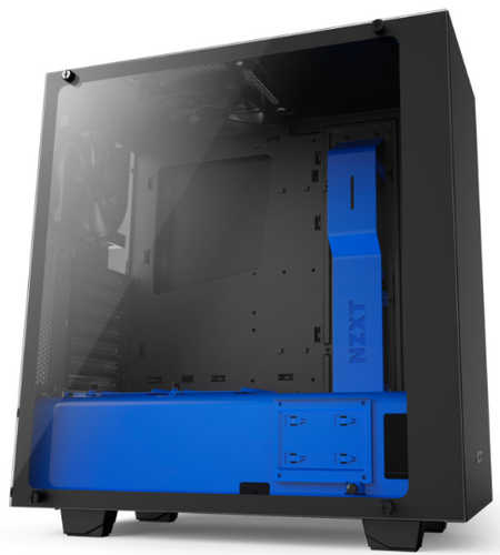 NZXT Source S340 Elite Matte Black/Blue USB3.0 Tower Case with Side Window Panel