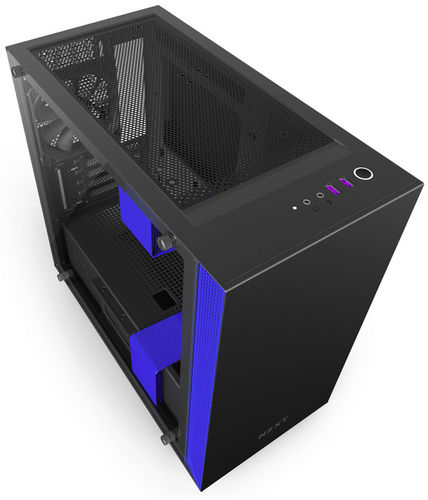 NZXT H400i Black Blue CAM-powered Premium Micro ATX mATX Case with Side Window Panel