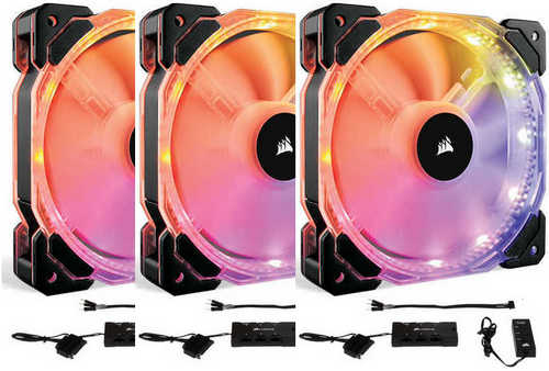 120mm 12cm Corsair SP120 RGB LED High Performance Fan Three Pack with Controller