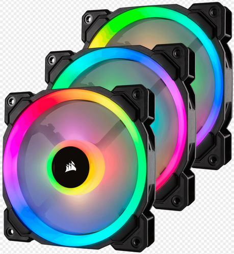 120mm 12cm Corsair LL120 RGB Dual Light Loop RGB LED PWM Fan 3 Fan Pack with Lighting Node PRO
