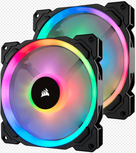 140mm 14cm Corsair LL140 RGB Dual Light Loop RGB LED PWM Fan with Lighting Node PRO Twin Pack