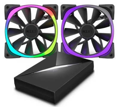 120mm 12cm NZXT Two Aer RGB Case Fans with HUE+ Controller