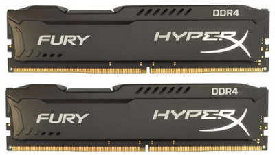 16GB DDR4 Kingston HyperX FURY HX424C15FB2K2/16 Black Heat Spreader 2400MHz CL15 (2x8GB)