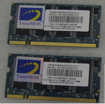 512MB DDR TwinMOS PC-2700 CL2.5 SO-DIMM 200-pin Notebook RAM (2x256MB), ex-demo, 3 months warranty<!--CL-->