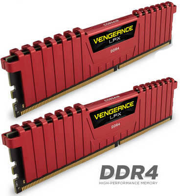 32GB DDR4 Corsair CMK32GX4M2A2400C14R Vengeance LPX Red Low Profile Heat Spreader 2400Mhz CL14-16-16-31 (2x16GB)