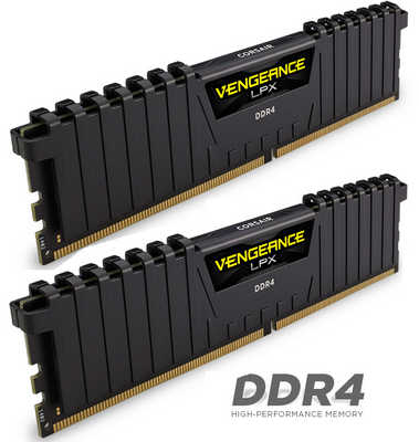 16GB DDR4 Corsair CMK16GX4M2D3200C16 Vengeance LPX Low Profile Heat Spreader 3200Mhz CL16-19-19-36 (2x8GB)