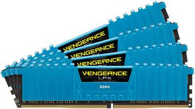 32GB DDR4 Corsair CMK32GX4M4A2666C16B Vengeance LPX Blue Low Profile Heat Spreader 2666MHz CL16-18-18-35 (4x8GB)
