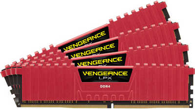 32GB DDR4 Corsair CMK32GX4M4A2666C16R Vengeance LPX Red Low Profile Heat Spreader 2666MHz CL16-18-18-35 (4x8GB)