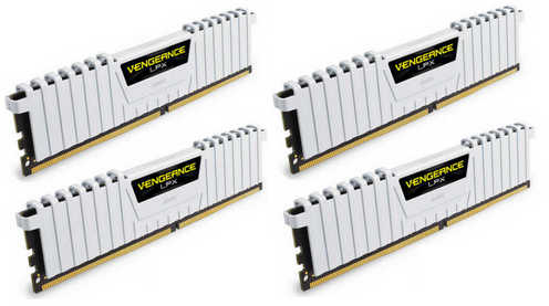 32GB DDR3 Corsair CMK32GX4M4B3200C16W Vengeance LPX White Low Profile Heat Spreader 3200Mhz CL16-18-18-36 (4x8GB)