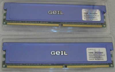 2GB DDR Geil 400MHz PC-3200 (2x1GB) with heatsink, ex-demo, 3 months warranty<!--CL-->