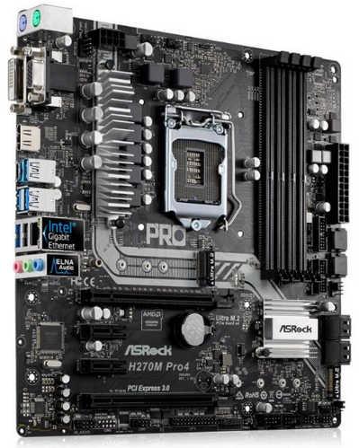 ASRock H270M-PRO4 Intel H270 LGA1151, 4xDDR4, PCIE, Int. Graphic, USB3.0 mATX