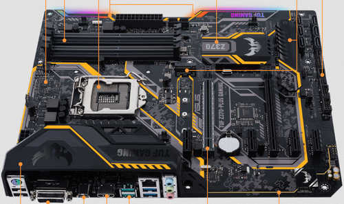 ASUS TUF-Z370-PLUS-GAMING TUF Z370-PLUS GAMING Intel Z370 LGA1151, 4xDDR4, PCIE, Int. Graphic, USB3.1