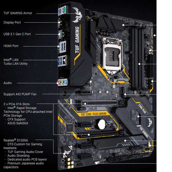 ASUS TUF-Z390-PLUS-GAMING, Intel 9th LGA1151, DDR4 4266MHz (O.C.)