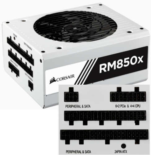 850W Corsair RMx White Series RM850x 80 PLUS Gold Modular Cables Management Power Supply