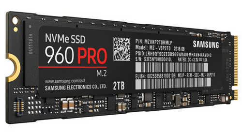 2TB 2000GB Samsung 960 Pro MZ-V6P2T0BW NVMe M.2 PCIE Solid State Disk (SSD)