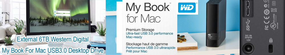 "External 3.5"" 6TB 6000GB Western Digital WDBYCC0060HBK-AESN My Book For Mac USB3.0 Desktop Drive"