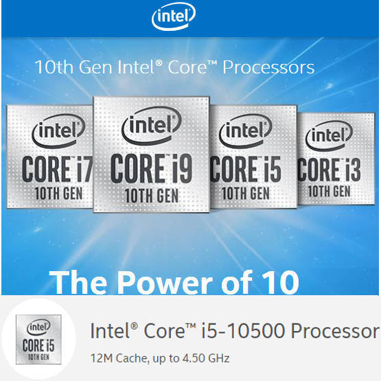 Intel 10th Generation Comet Lake BX8070110500 i5 10500 12M Cache, up to 4.50 GHz LGA1200 CPU