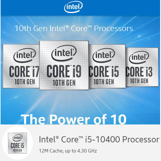 Intel 10th Generation Comet Lake BX8070110400 i5 10400 12M Cache, up to 4.30 GHz LGA1200 CPU