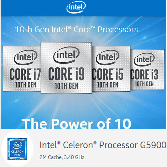 Intel 10th Generation Comet Lake Celeron BX80701G5900 2M Cache, up to 3.40 GHz LGA1200 CPU