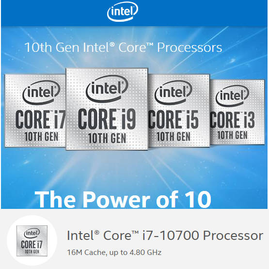 Intel 10th Generation Comet Lake BX8070110700F i7 10700F 16M Cache, up to 4.80 GHz LGA1200 CPU