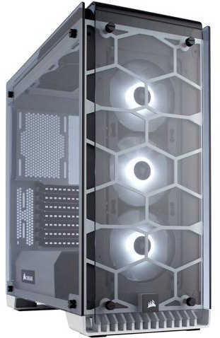 Corsair Crystal Series 570X RGB ATX Mid-Tower Case White with Four-panel tempered glass Window Panel