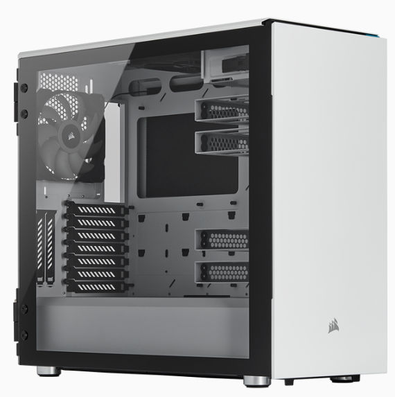Corsair Carbide Series 678C Low Noise Tempered Glass ATX Case White with Window Side Panel