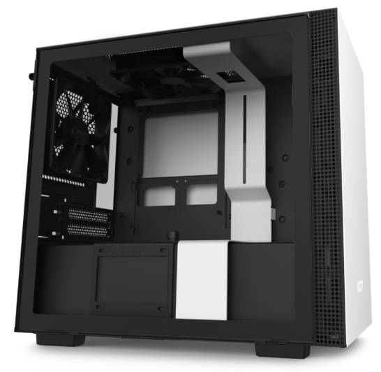 NZXT H210 Black & White Mini-ITX Tower Case with Tempered Glass Side Window Panel