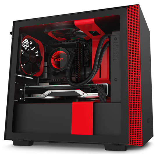 NZXT H210i Black & Red Mini-ITX Tower Case Smart Device V2 Lighting and Fan control with Tempered Glass Side Window Panel