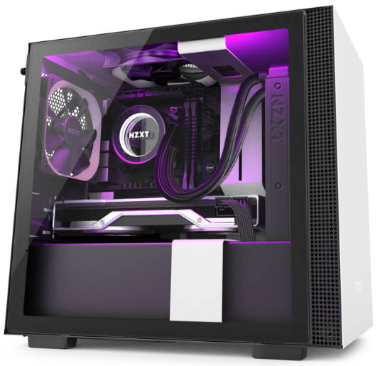 NZXT H210i Black & White Mini-ITX Tower Case Smart Device V2 Lighting and Fan control with Tempered Glass Side Window Panel
