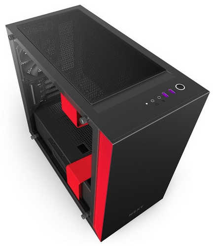 NZXT H400i Black Red CAM-powered Premium Micro ATX mATX Case with Side Window Panel