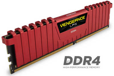 8GB DDR4 Corsair CMK8GX4M1A2666C16R Vengeance LPX Red Low Profile Heat Spreader 2666MHz CL16-18-18-35