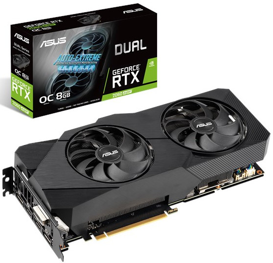 ASUS DUAL-RTX2060S-O8G-EVO Dual GeForce RTX 2060 SUPER EVO OC edition 8GB GDDR6 256-bit, GPU Boost Clock up to 1725 MHz